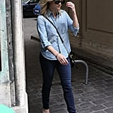 Reese Witherspoon paired denim on denim for an effortless dose of the on-trend.