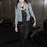 Michelle Trachtenberg selected a sophisticated seasonal evening look for the Cinema Society and Piaget film screening.