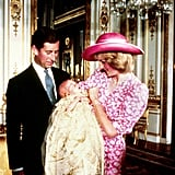 On the day of Prince William's christening in August 1982, Princess Diana smiled at her son alongside Prince Charles at Buckingham Palace.