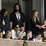 Russell Brand watched the LA Galaxy with Victoria Beckham and Gordon Ramsay in LA.