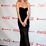 The model wore this strapless, floor-length gown by Kevork Kiledjian to accept an award at the 2011 CinemaCon Awards in Las Vegas.
