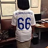 Condoleezza Rice showed her American pride with a custom jersey. Source: Twitter user condoleezzarice