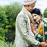 """""""This is from a gorgeous Indian wedding I shot in June. What I love about it is the intimacy of the couple, and how the colour of their outfits at once compliment and juxtapose with the background. For me it's like a still from a Bollywood film shot in Europe, especially as the couple are so handsome."""" — Nigel Edgecombe"""