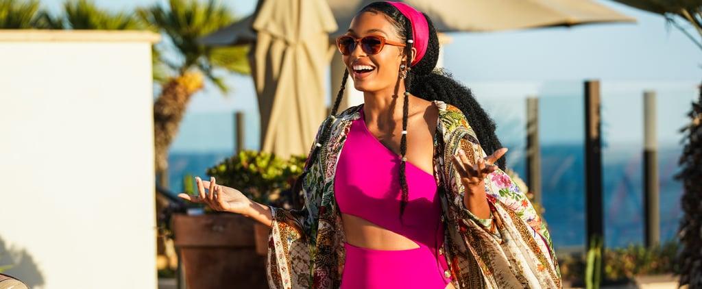 Yara Shahidi's Pink Cutout Swimsuit as Zoey on Grown-ish