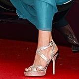 Those Jimmy Choo Vamp Sandals (£484) made another appearance.