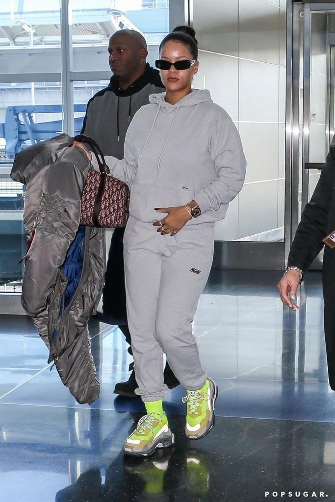 Rihanna S Green Balenciaga Sneakers Popsugar Fashion