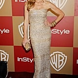 Connie wowed at InStyle's Golden Globes party in this slinky, shimmering strapless gown.