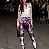 Joan Smalls was spotted wearing Prabal Gurung's purple floral pants at NYFW.    More Pepe Jeans...