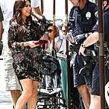 Kim Kardashian chatted with police officers.