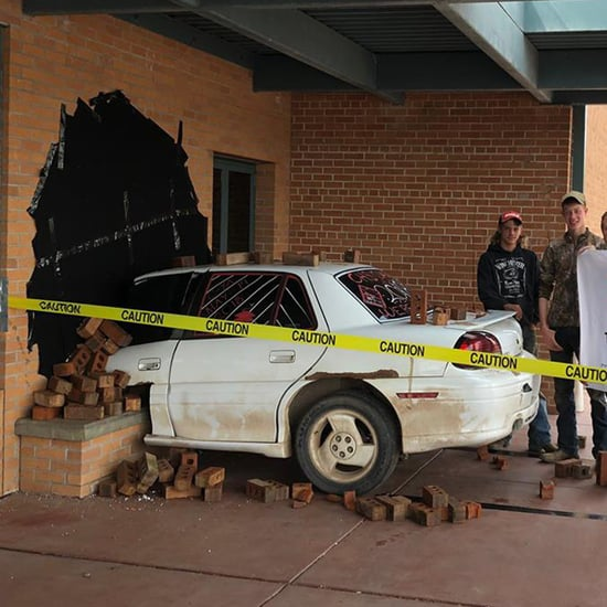 Cumberland Senior Prank With Car Sticking Out of Building