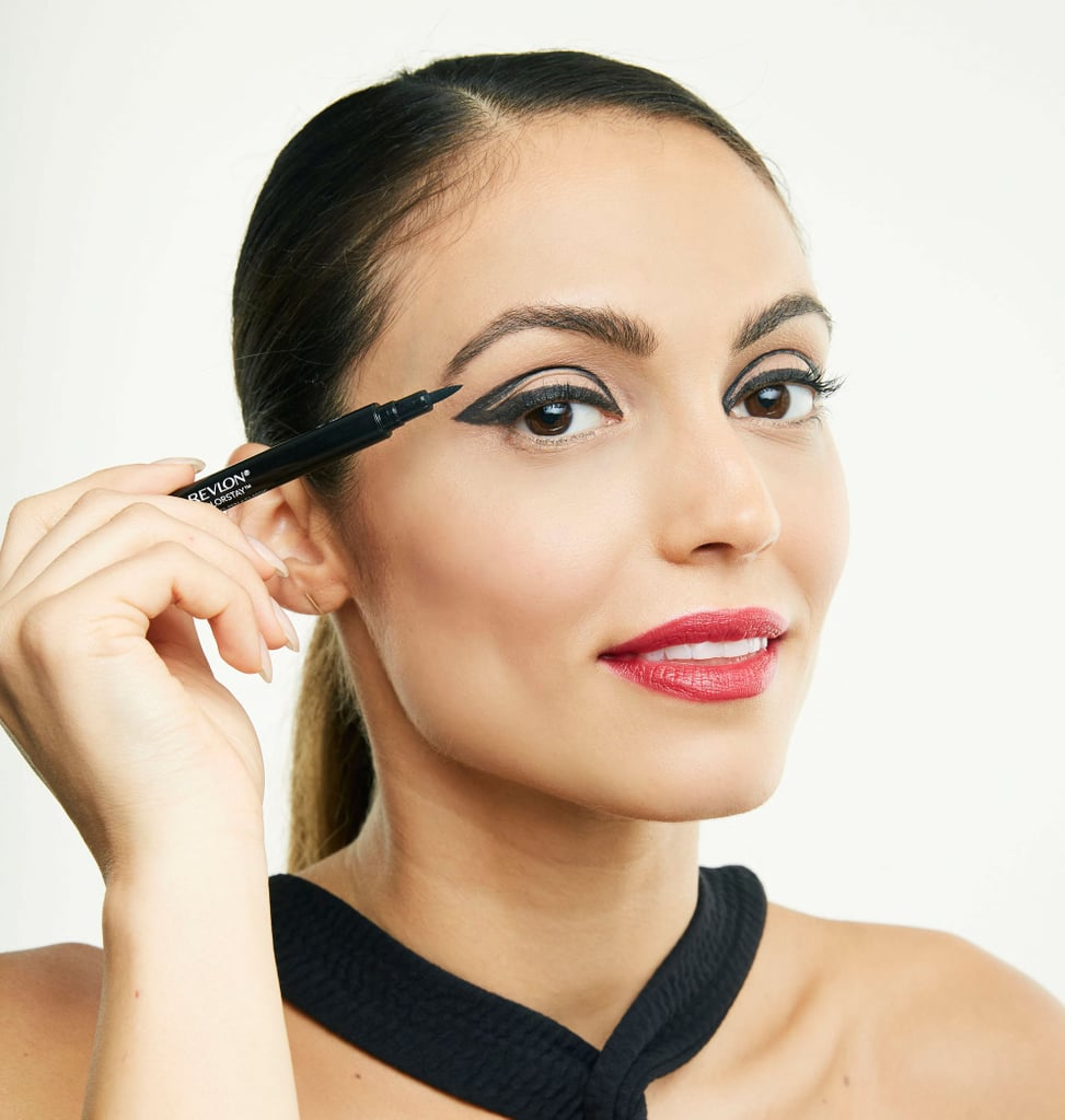 Use a flow-through liner pen with a flexible, tapered, felt tip for smooth precision and you'll feel like a total makeup pro. Try drawing an elongated cat eye and then drawing another curved line in the crease.