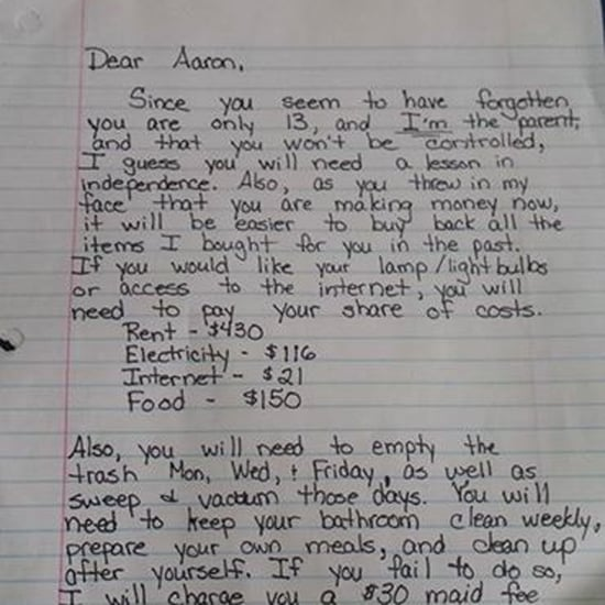 Mom Teaches Son a Lesson With Tough Love Letter