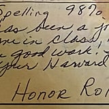 The 21-year-old report card, with a message from Ms. Toensing.