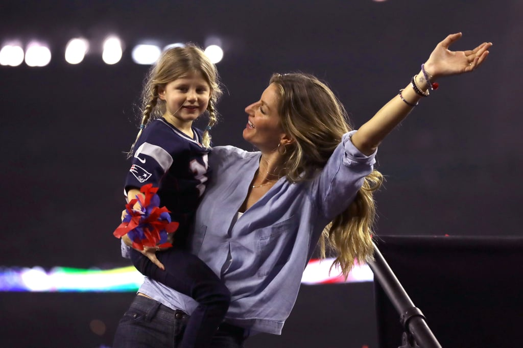 "Tom Brady's family was front and center at the Super Bowl on Sunday, and looked more excited that ever to celebrate his big win with the Patriots. Before the big game, Gisele Bündchen shared a precious snap of daughter Vivian at NRG Stadium in Houston wearing a t-shirt with the words ""Brady's Little Ladies"" on the back. Along with the shot, the former model wrote, ""Bom dia! Game day! #superbowl #daddyslittlegirl ✨❤️✨🏈"" Shortly after, Gisele followed up her photo with a picture of all the Brady women, including Tom's mom, Galynn, who is suffering an illness. Gisele, Vivian, and son Benjamin joined Tom on the field for the big celebration, and they shared a handful of heartfelt moments. Tom and the rest of the New England Patriots beat the Atlanta Falcons 34-28 after going into the first overtime in Super Bowl history.      Related:                                                                We Can All Celebrate Tom Brady's Winning Good Looks                                                                   Tom Brady and Gisele Bündchen Take Their Love to the Field After the Super Bowl                                                                   You Have to See Gisele's Reaction to Tom Brady's Super Bowl Win"