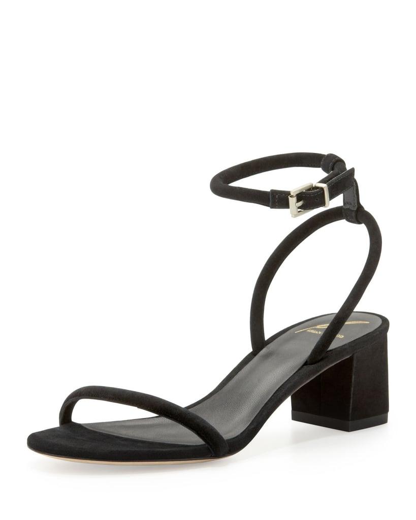 B Brian Atwood Kelston black block-heel ankle-strap sandals ($275)