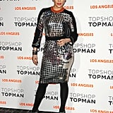 Jennifer Lopez, who made stops at both the Topshop party and the Tommy Hilfiger store opening, chose an iridescent printed number and Brian Atwood heels for both occasions.