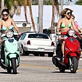 Selena Gomez got behind the wheel of a turquoise scooter.
