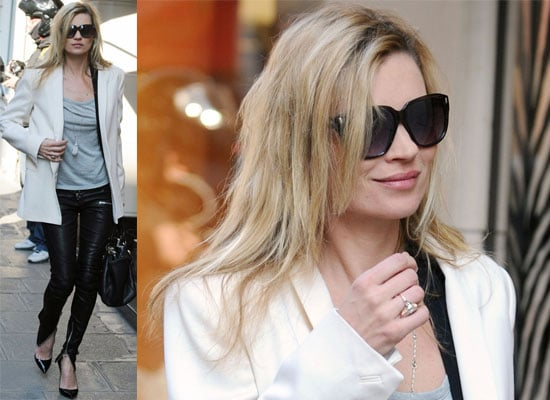 Photos of Kate Moss at Paris Fashion Week in Leather Trousers — Steal Her Style!