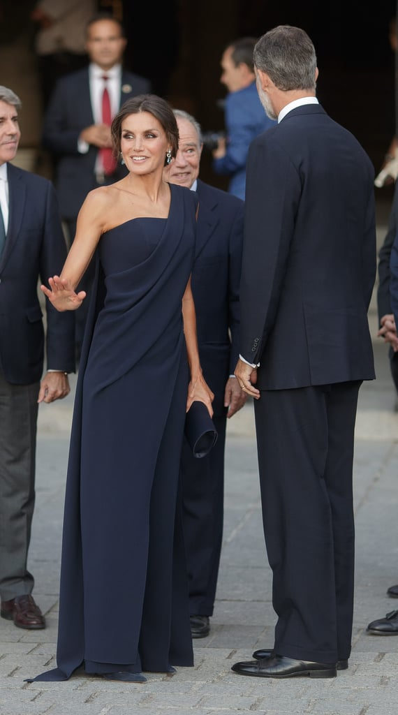 Queen Letizia S Navy Jumpsuit September 2018 Popsugar Fashion