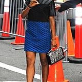 Kerry showed off an eclectic minidress with loads of fun details, including a leather bodice and printed skirt. She added a zebra-print bag and snakeskin pumps for a wild finish.
