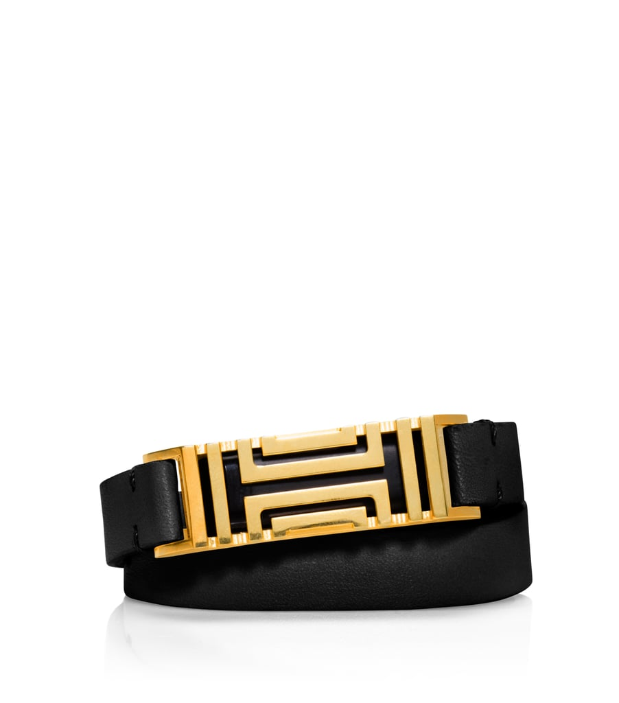 New this month, the Tory Burch For Fitbit Fret Double-Wrap Bracelet ($175) is lightweight with a leather strap. It's available in four color combinations: French Gray/Tory Silver, Light Oak/Rose Gold, Black/Shiny Brass, and Bark/Aged Gold.