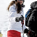 Kate Middleton wore red ski pants and a white jacket for a ski vacation in France.