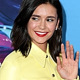 Nina Dobrev With a Red Lip and Shimmery Eye Shadow