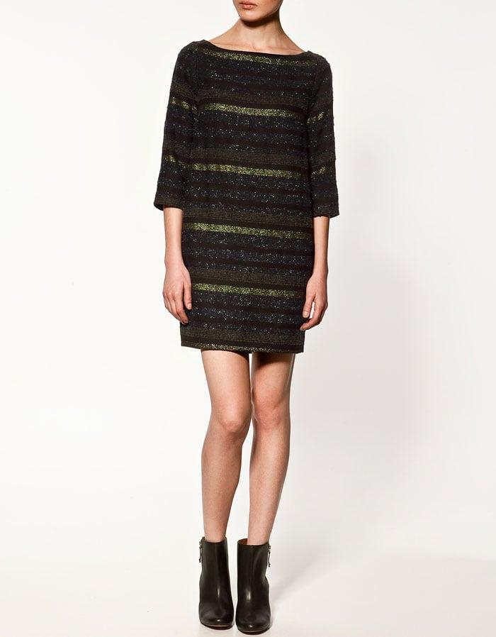 A sweater dress with cozy texture.  Zara Metallic Thread Dress ($80)