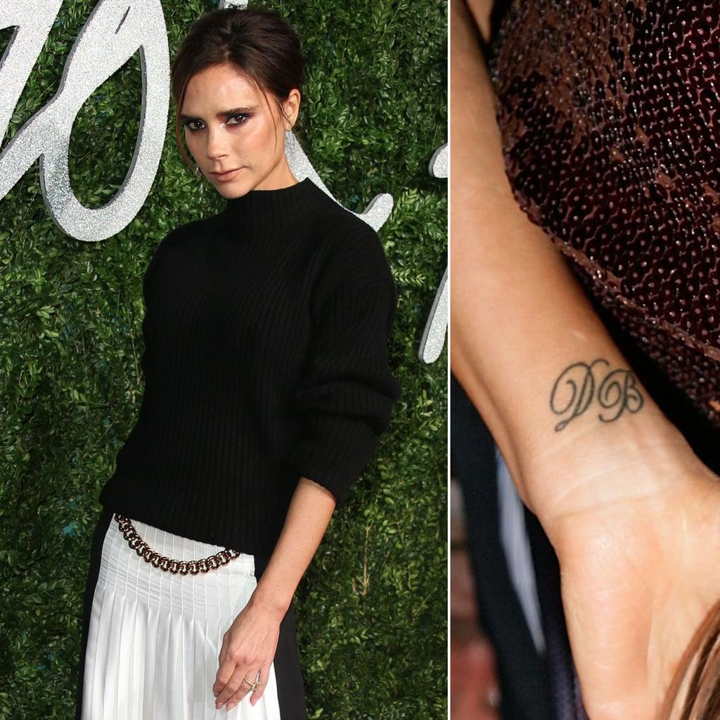 "David Beckham's initials, ""DB,"" have a permanent spot inside his wife Victoria Beckham's right wrist."