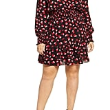 Michael Michael Kors Falling Petals Smock Waist Long-Sleeve Dress