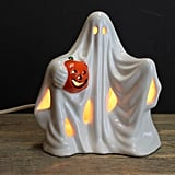 Vintage Lighted Ghost With Pumpkin Ceramic Halloween Decor