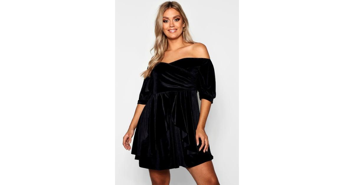 fa867767368 Boohoo Plus Bardot Ruffle Velvet Skater Dress
