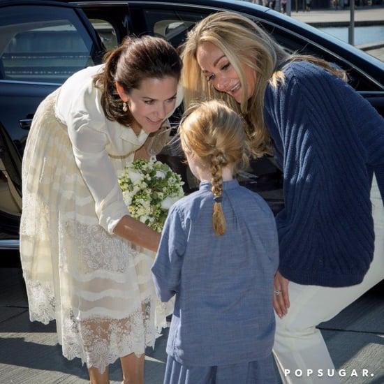 Princess Mary Wearing a White Lace Skirt May 2016