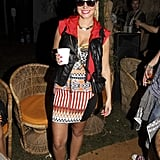 Tulisa rocked an Aztec print backstage.