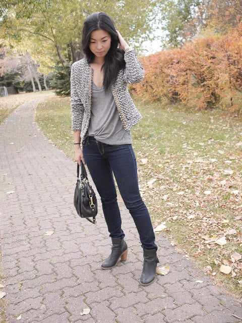 A tweedy boucle jacket gave this denim look a touch of that Parisian chic. Source: Lookbook.nu