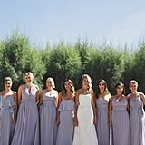 There were so many complementing styles of pale purple dresses in this bridal party.