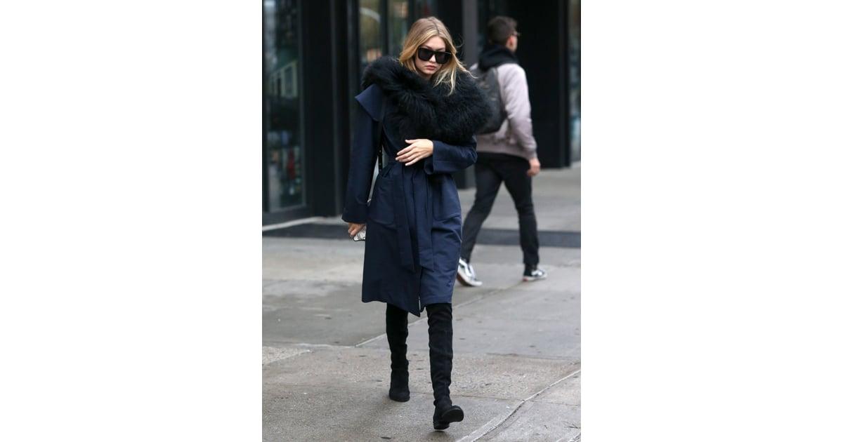 1d0b5f68f588 She accessorized her comfy coat with Karen Walker s Deep Worship ...