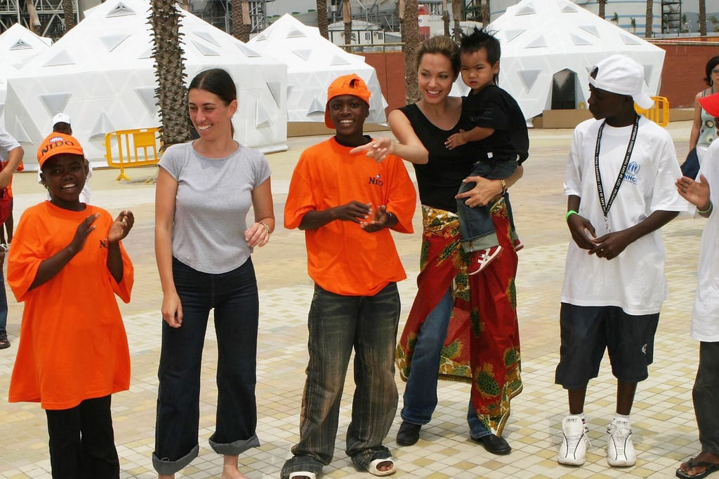 Angelina traveled to Spain with Maddox for World Refugee Day in 2004.