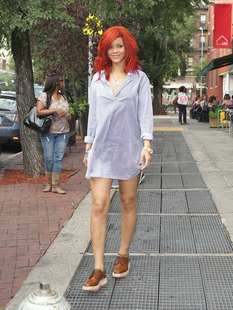 Rihanna Paired Her Bright Red Hair With A Short Dress Rihanna
