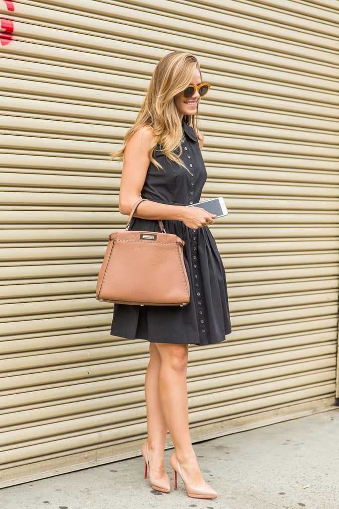 A figure-flattering day dress