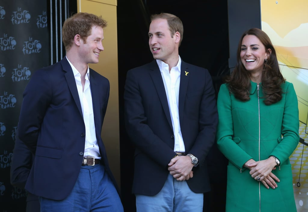 Prince Harry was all smiles with his brother and sister-in-law while watching Stage 1 of the Tour de France in Harrogate, England, in July 2014.