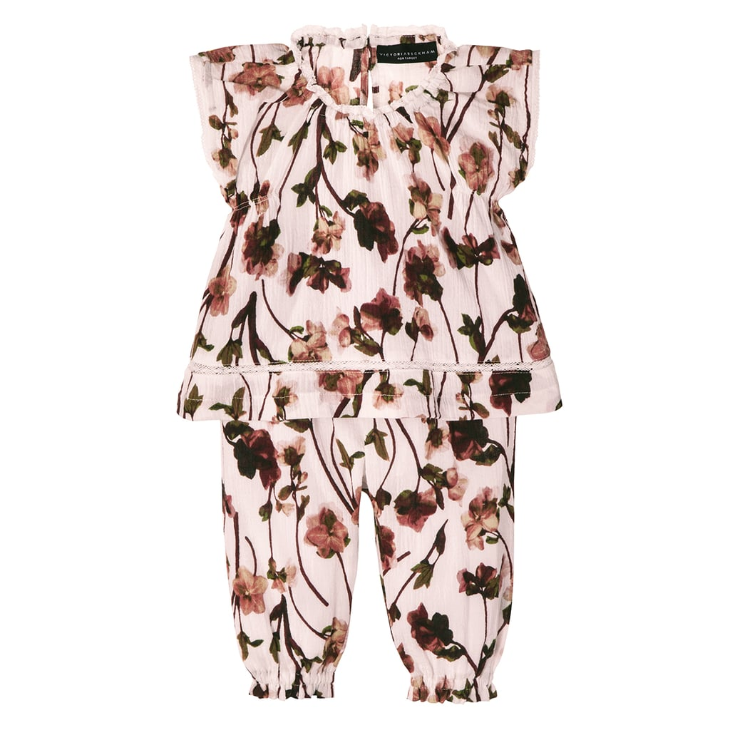 Baby Blush Floral Ruffle Trim Top and Capri Set  ($15)