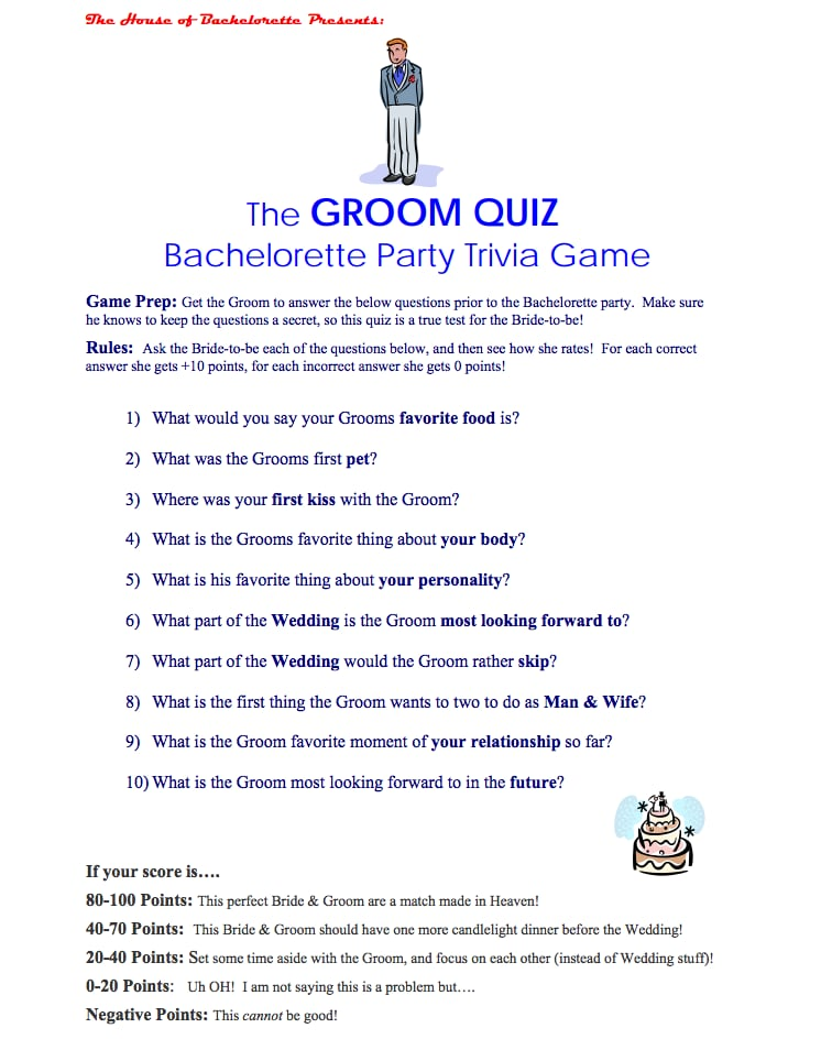 Groom trivia questions for bachelorette party