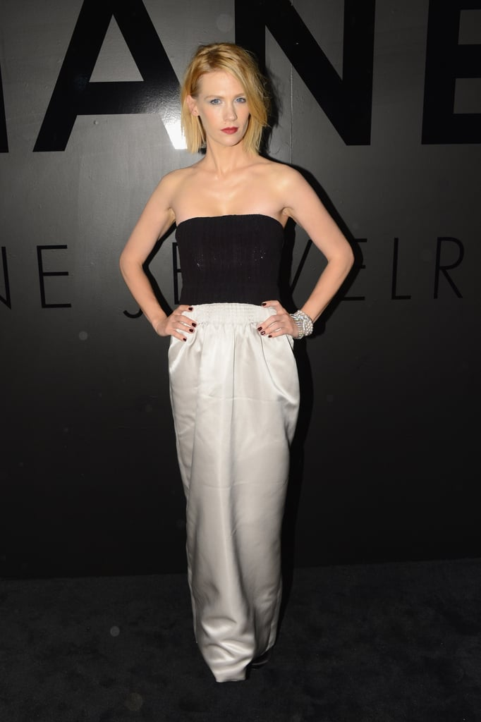 January Jones chose a black and white palette for the event.