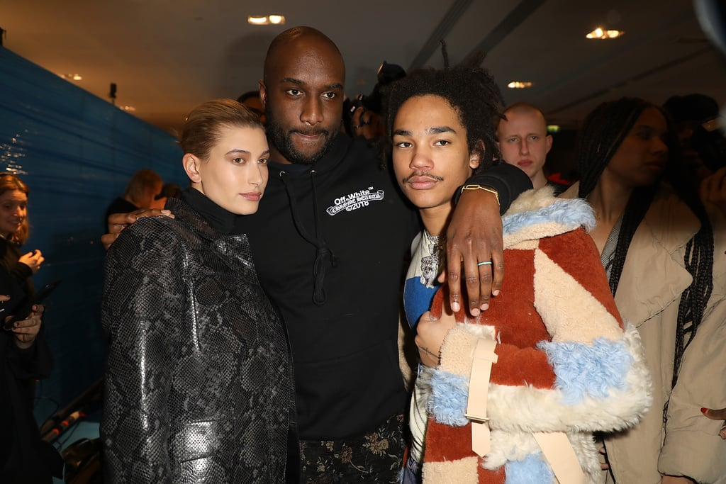 Virgil Abloh with Hailey Baldwin and Luka Sabbat at the Fall 2018 Off-White show.
