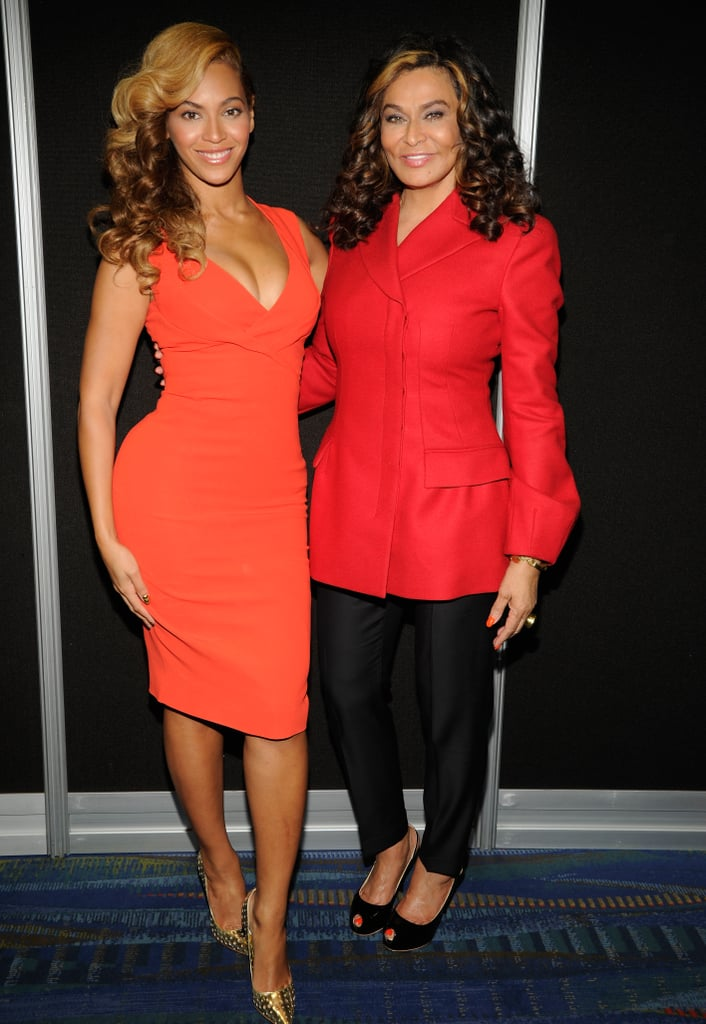 Beyonc and Tina were visions in red backstage at the Pepsi Super Bowl XLVII Halftime Show press conference in 2013.