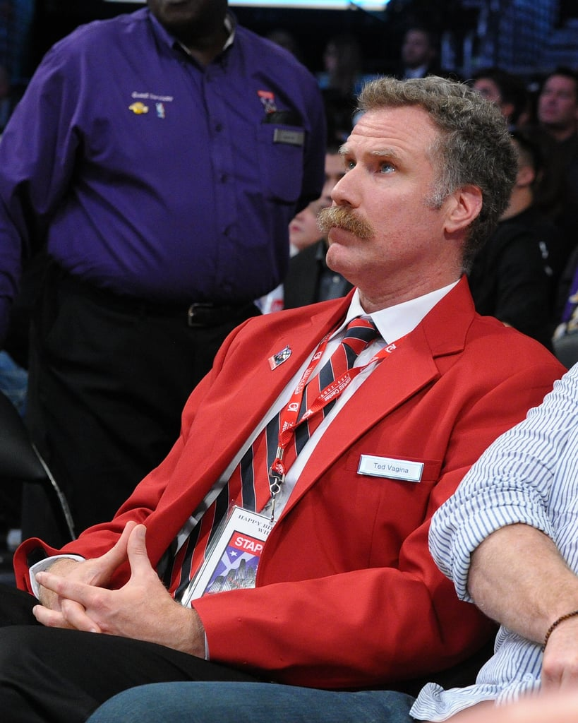 Will Ferrell wore a red blazer to watch the Lakers play in LA.