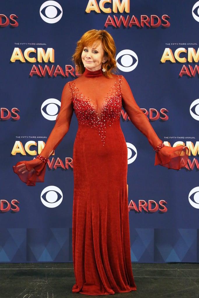 Reba McEntire Red Dress at 2018 ACM Awards
