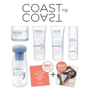 Coast to Coast Pure Australian Skincare Showbag ($26) Includes:  Fruit infuser water bottle  Ultra gentle foaming cleanser  Ultra Soothing Clay Mask