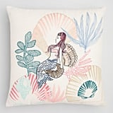 Embroidered Mermaid Indoor Outdoor Throw Pillow